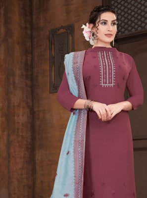 Viscose Wine Designer Straight Suit