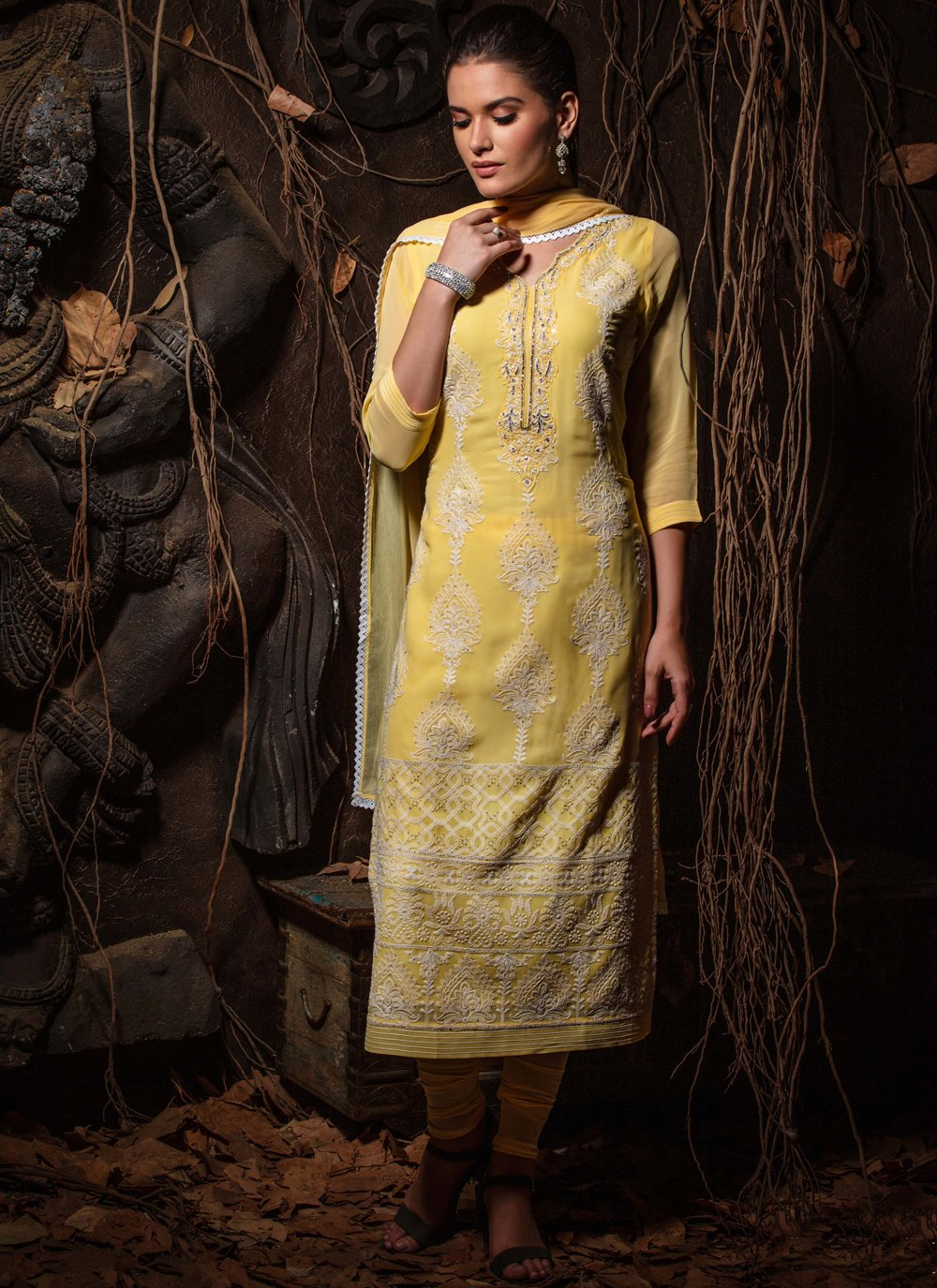 Viscose Yellow Fancy Readymade Churidar Suit