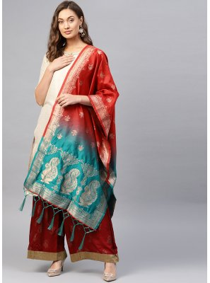 Weaving Art Banarasi Silk Designer Traditional Saree in Blue and Red