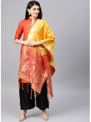 Weaving Art Banarasi Silk Designer Traditional Saree in Orange and Yellow
