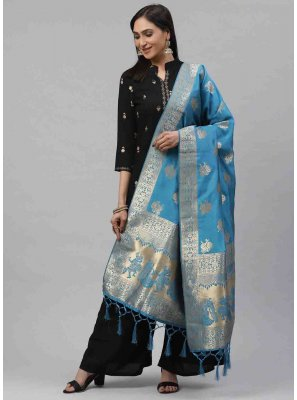 Weaving Art Silk Designer Dupatta in Blue