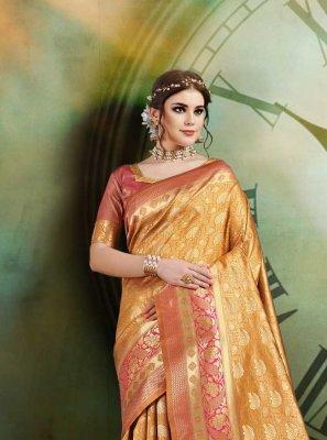 Weaving Art Silk Designer Traditional Saree in Mustard