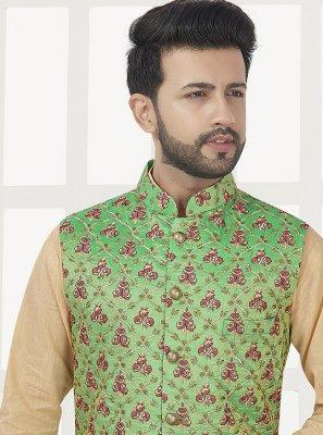 Weaving Art Silk Nehru Jackets in Green