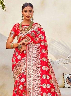 Weaving Art Silk Red Traditional Designer Saree