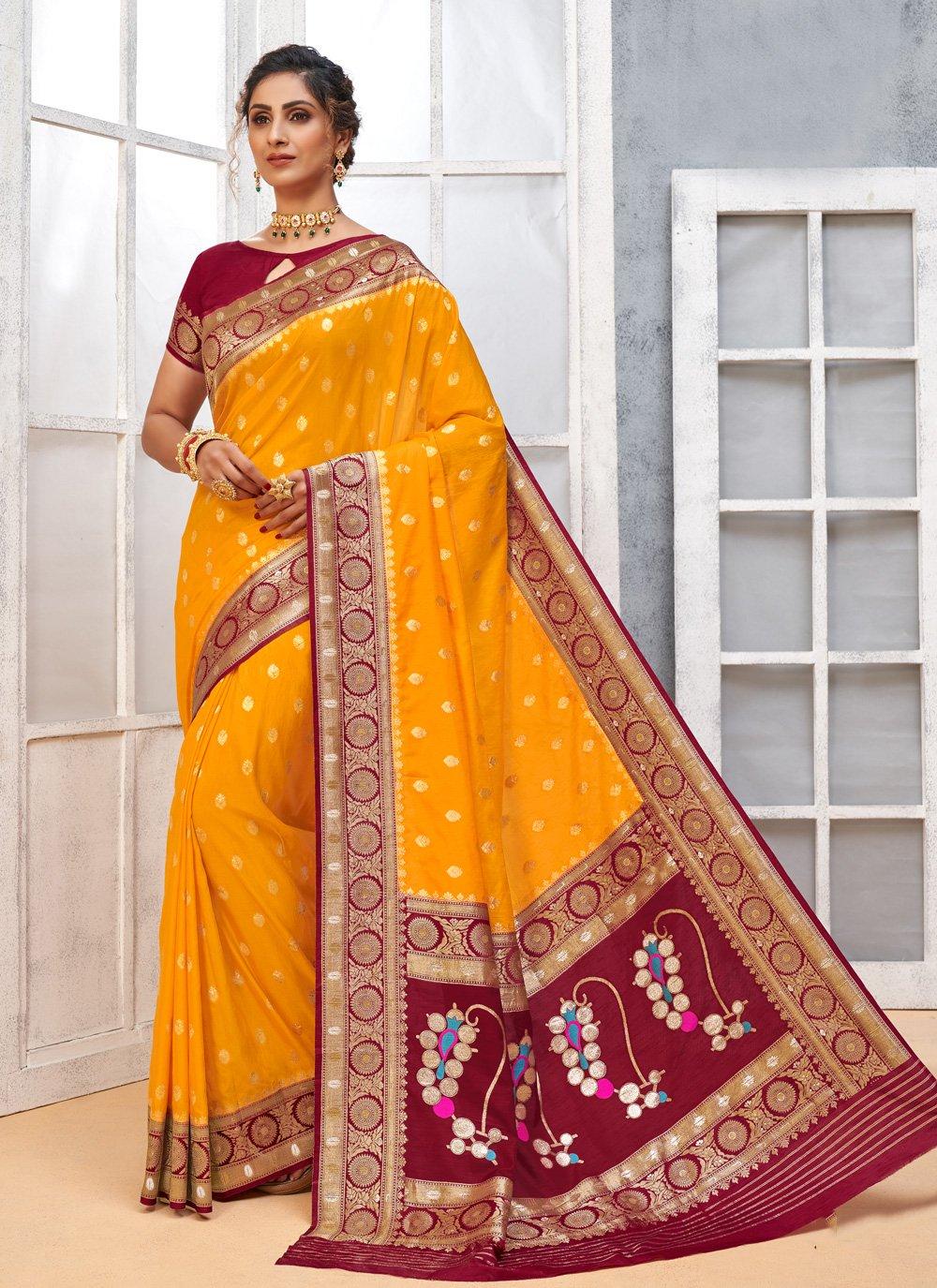 Weaving Art Silk Traditional Designer Saree in Yellow