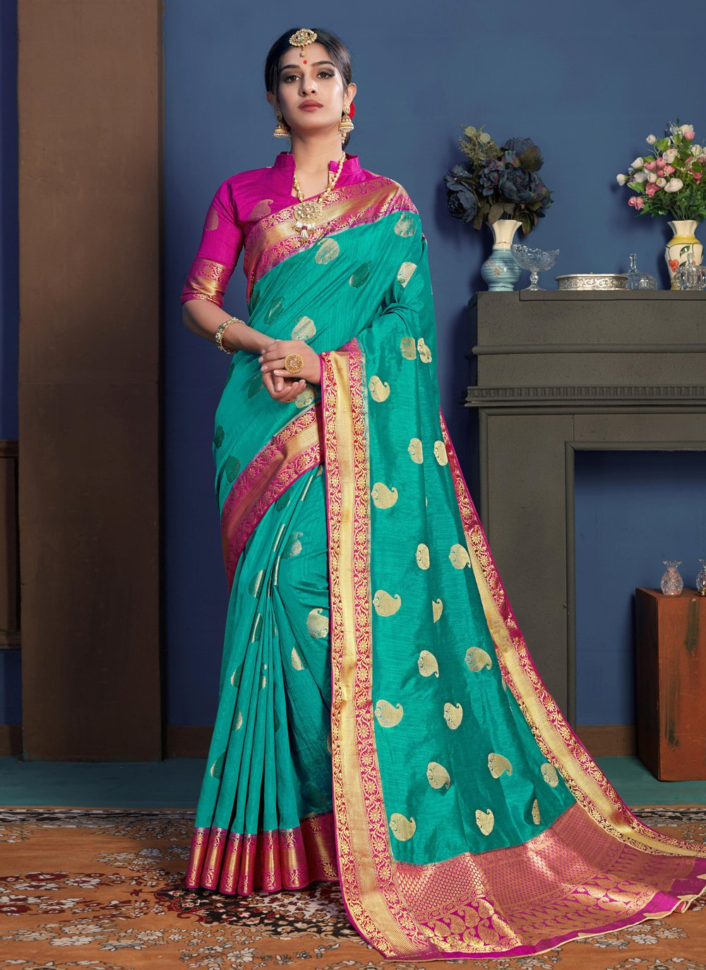 Weaving Art Silk Turquoise Designer Traditional Saree