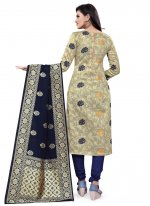 Weaving Banarasi Silk Beige Designer Straight Suit
