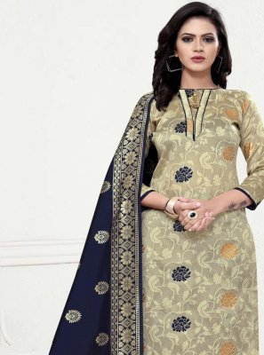 Weaving Banarasi Silk Beige Designer Straight Suit