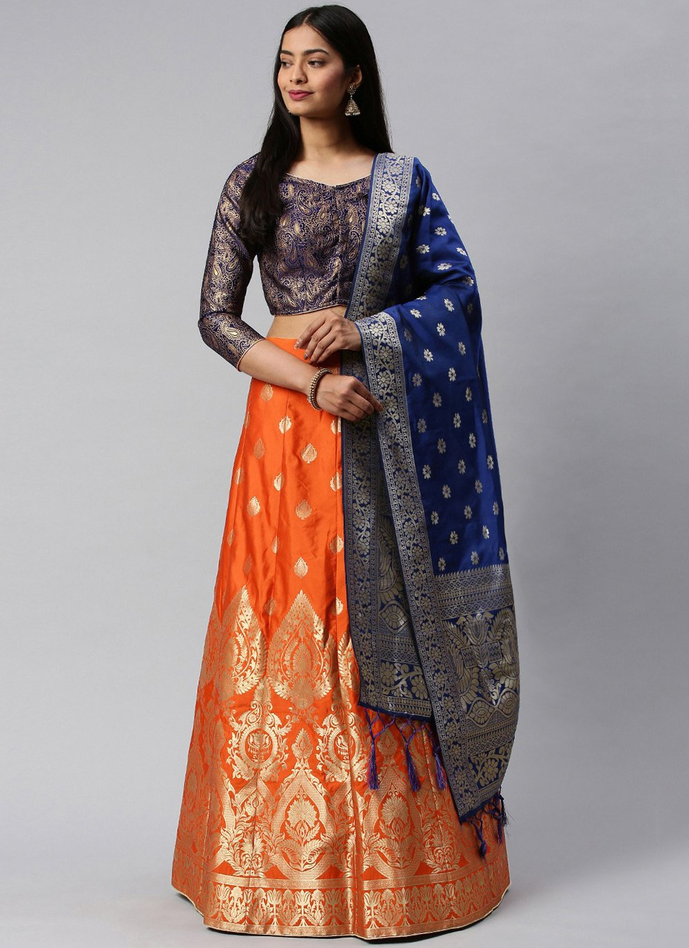Weaving Banarasi Silk Blue and Orange Lehenga Choli