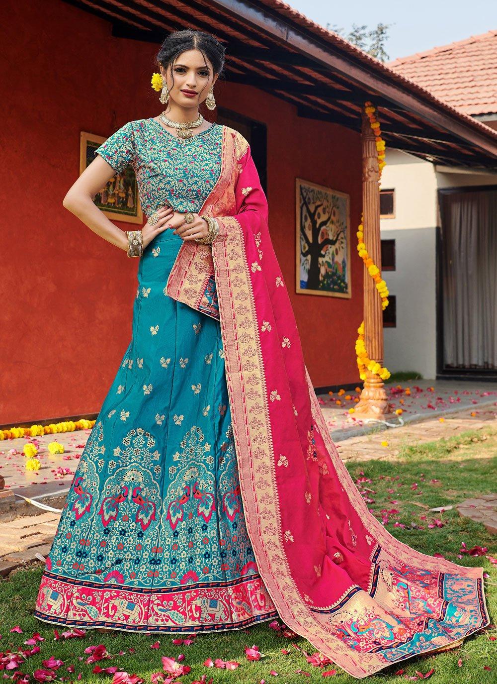 Weaving Banarasi Silk Blue Lehenga Choli