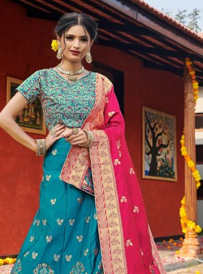 Weaving Banarasi Silk Blue Lehenga Choli