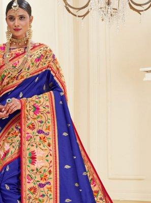 Weaving Banarasi Silk Blue Traditional Designer Saree