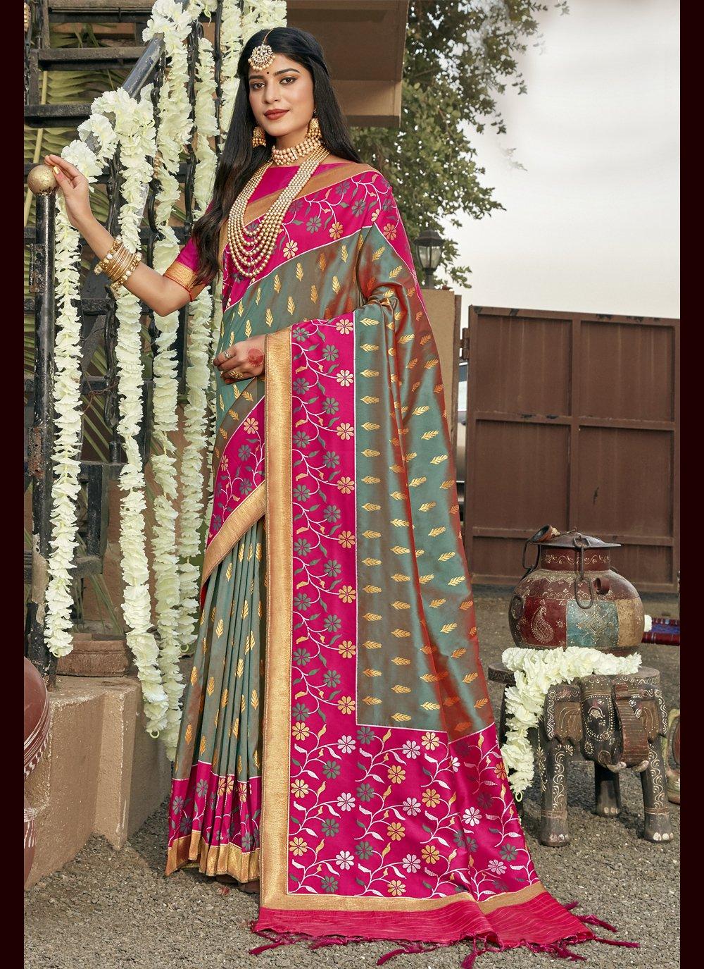 Weaving Banarasi Silk Bollywood Saree in Grey