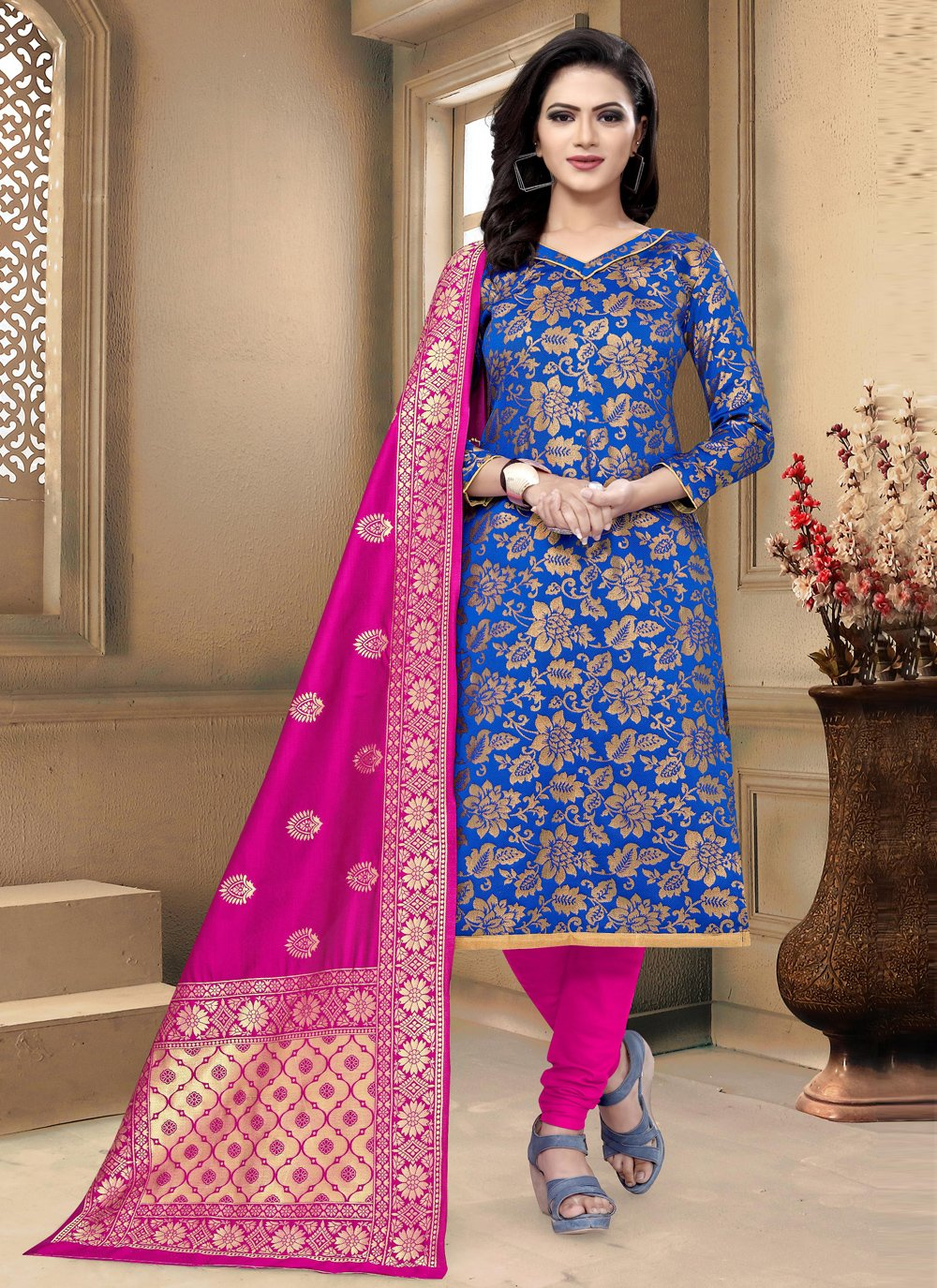 Weaving Banarasi Silk Churidar Designer Suit in Blue