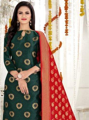 Weaving Banarasi Silk Churidar Salwar Suit