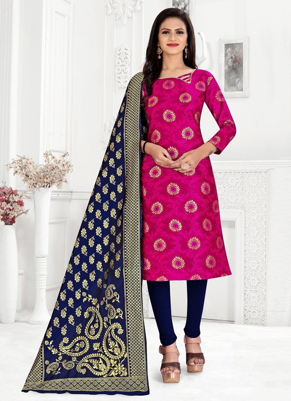 Weaving Banarasi Silk Churidar Suit