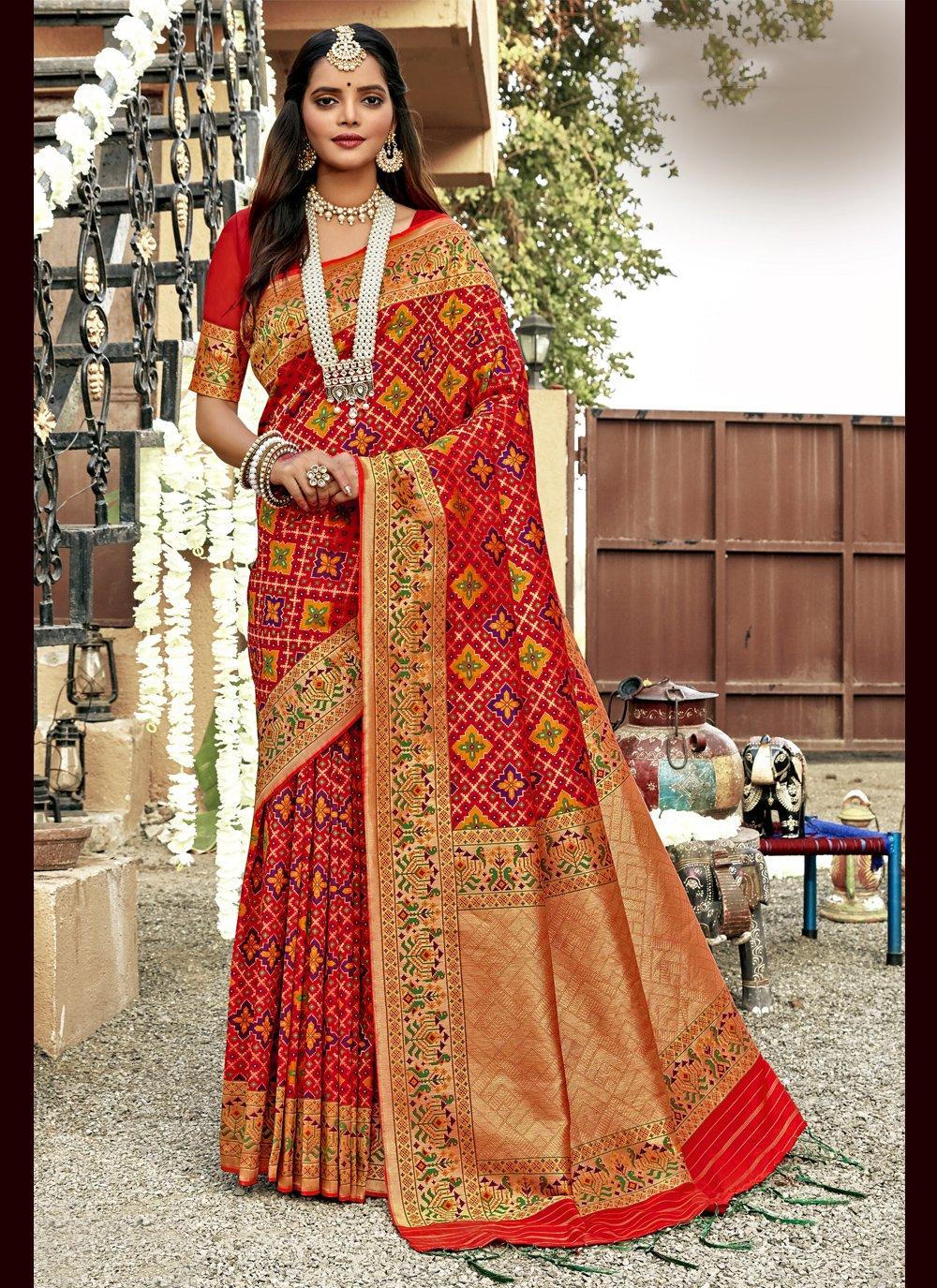 Weaving Banarasi Silk Designer Saree in Red