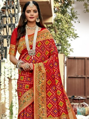 Weaving Banarasi Silk Designer Saree in Red