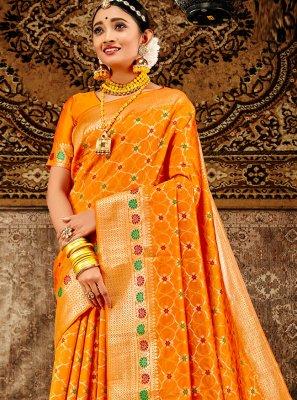 Weaving Banarasi Silk Designer Traditional Saree in Orange