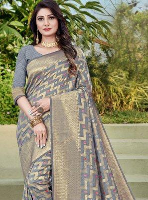 Weaving Banarasi Silk Grey Traditional Designer Saree