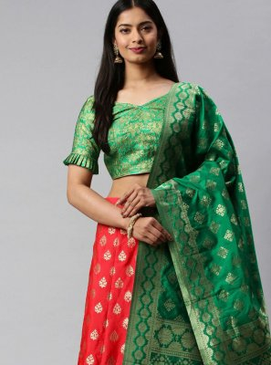 Weaving Banarasi Silk Lehenga Choli in Green and Red