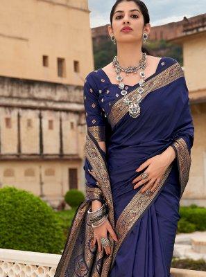 Weaving Banarasi Silk Navy Blue Trendy Saree