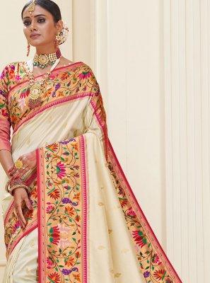 Weaving Banarasi Silk Off White Designer Traditional Saree