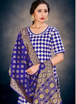 Weaving Banarasi Silk Pant Style Suit