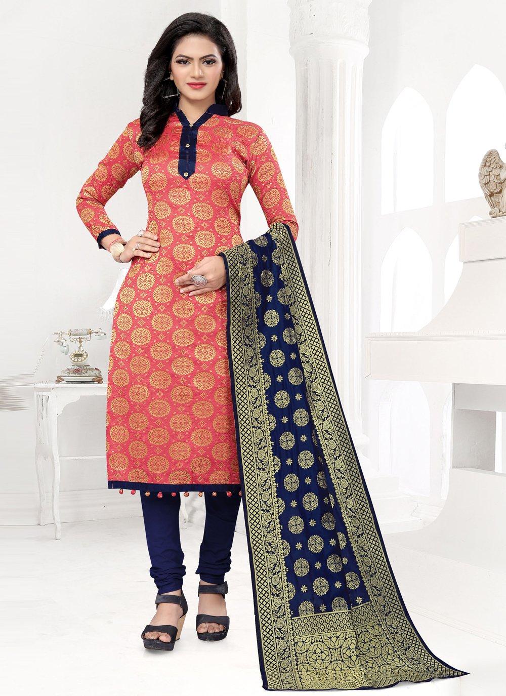 Weaving Banarasi Silk Peach Churidar Designer Suit