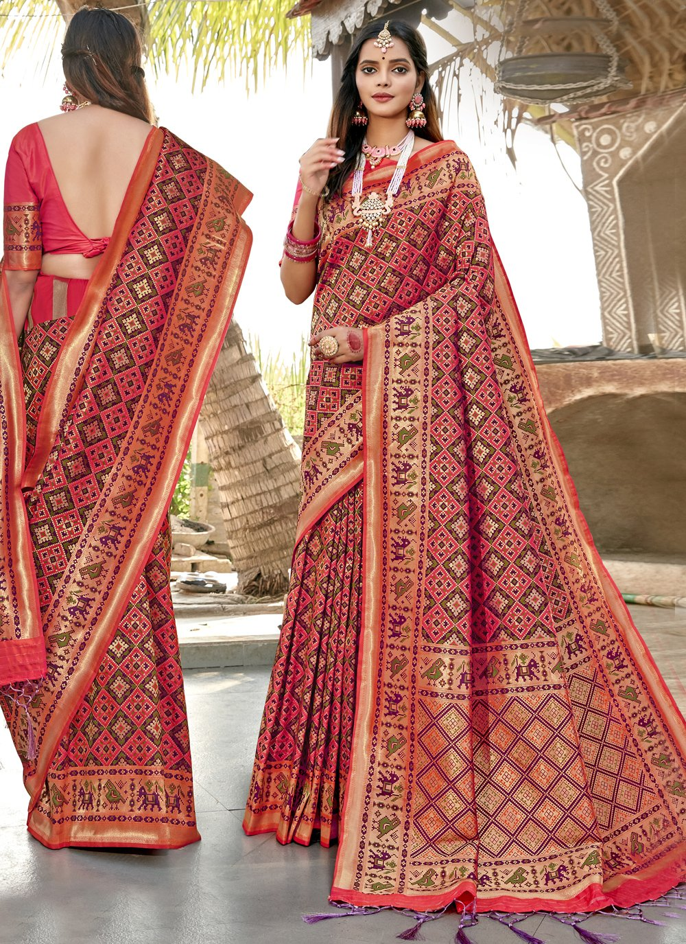 Weaving Banarasi Silk Pink Classic Saree
