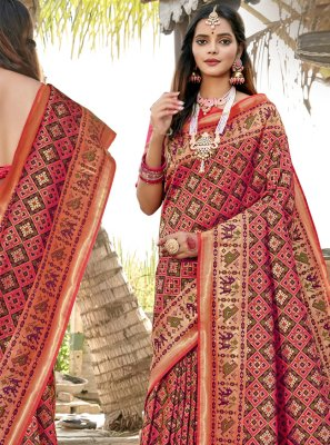 Weaving Banarasi Silk Pink Classic Saree