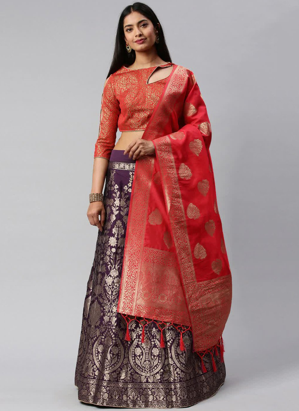 Weaving Banarasi Silk Purple and Red Lehenga Choli