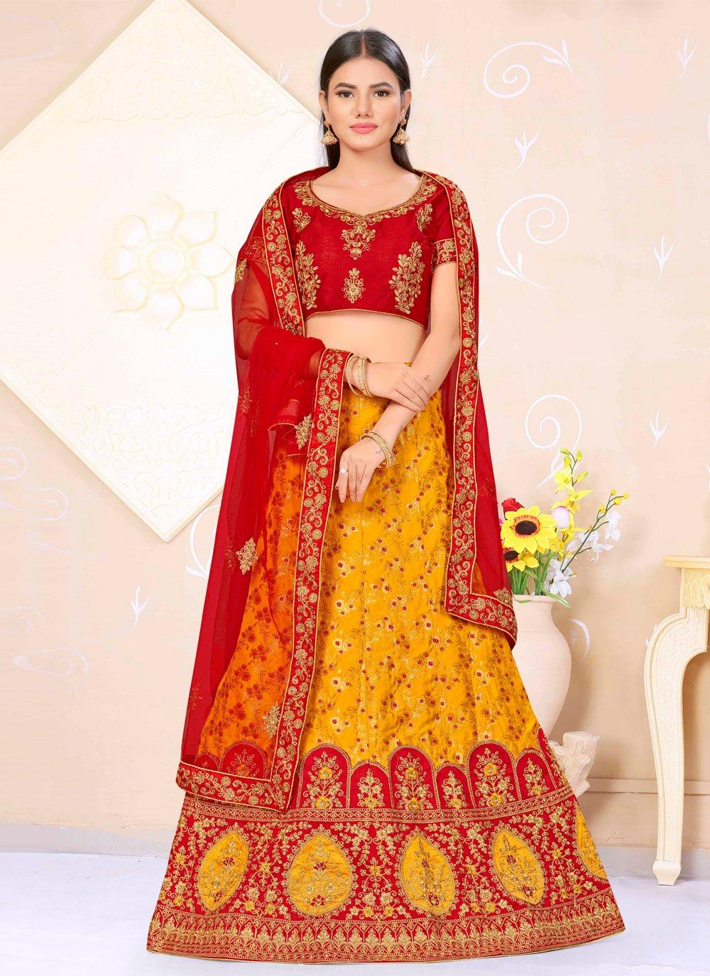 Weaving Banarasi Silk Red and Yellow Lehenga Choli