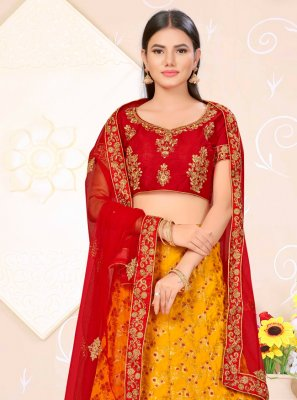 Weaving Banarasi Silk Red and Yellow Lehenga Choli