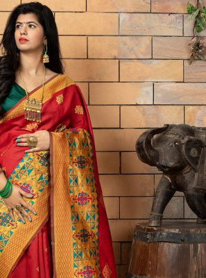 Weaving Banarasi Silk Red Designer Traditional Saree