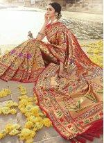 Weaving Banarasi Silk Red Traditional Designer Saree