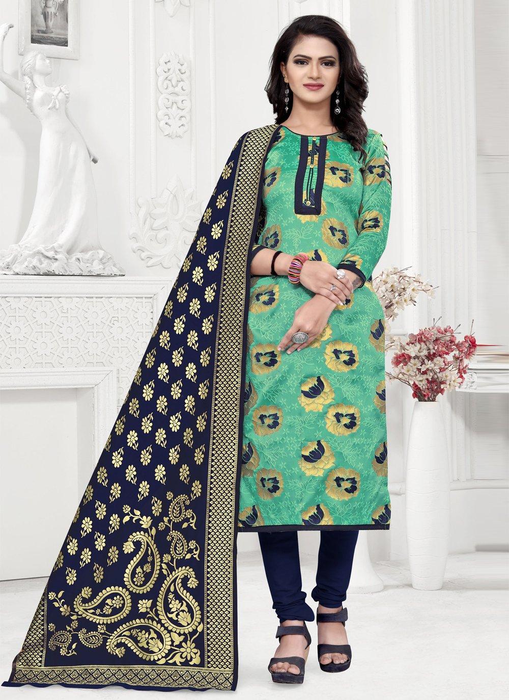 Weaving Banarasi Silk Sea Green Churidar Salwar Suit