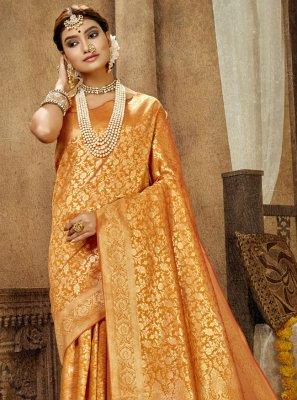Weaving Banarasi Silk Traditional Designer Saree in Mustard