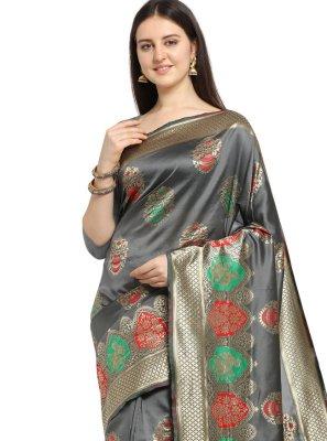 Weaving Banarasi Silk Traditional Saree in Grey