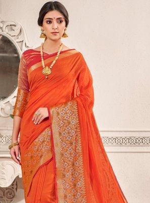 Weaving Banarasi Silk Traditional Saree in Orange