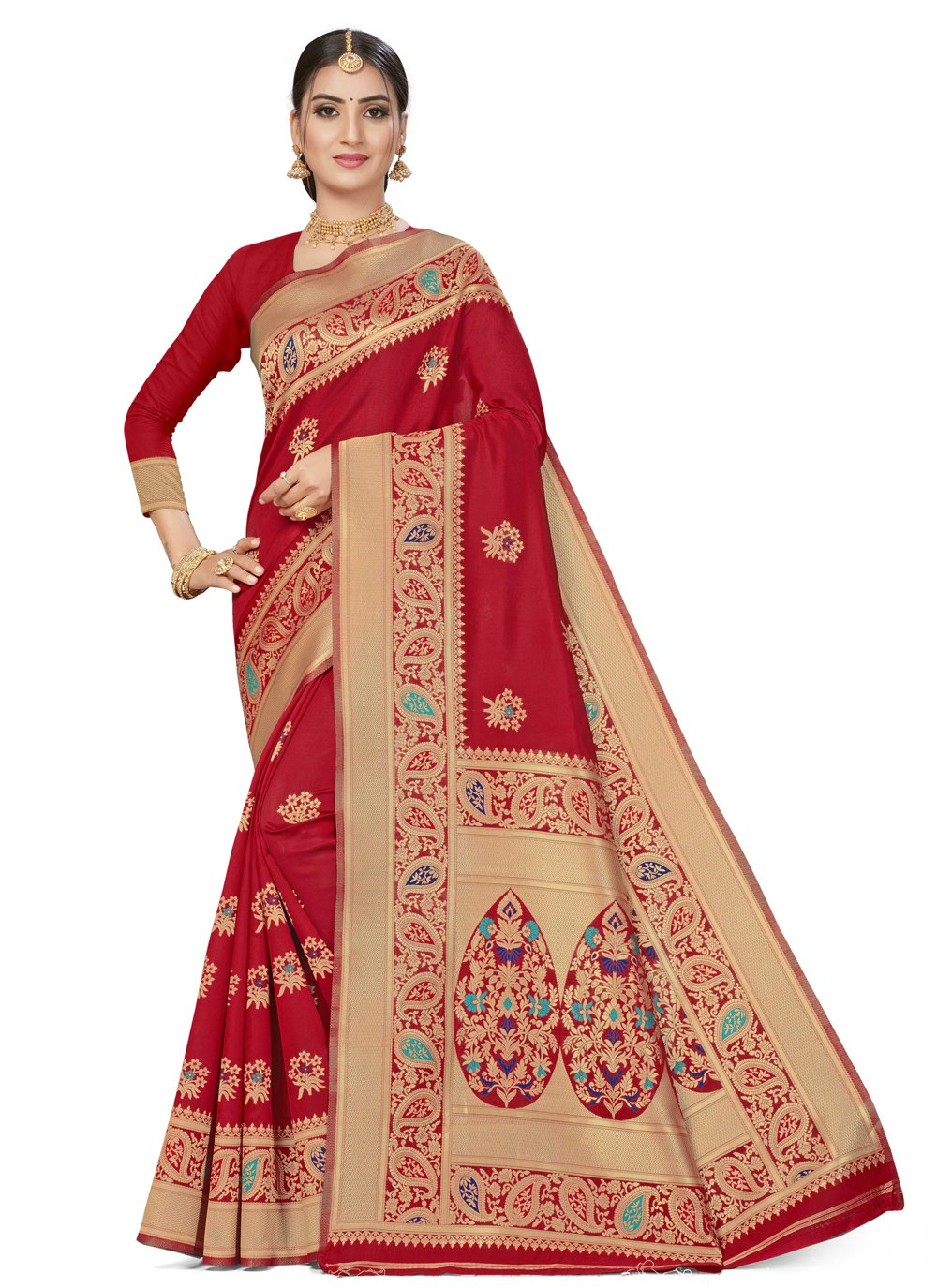 Weaving Banarasi Silk Traditional Saree in Red
