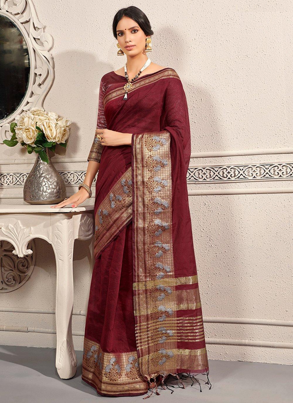 Weaving Banarasi Silk Traditional Saree in Wine