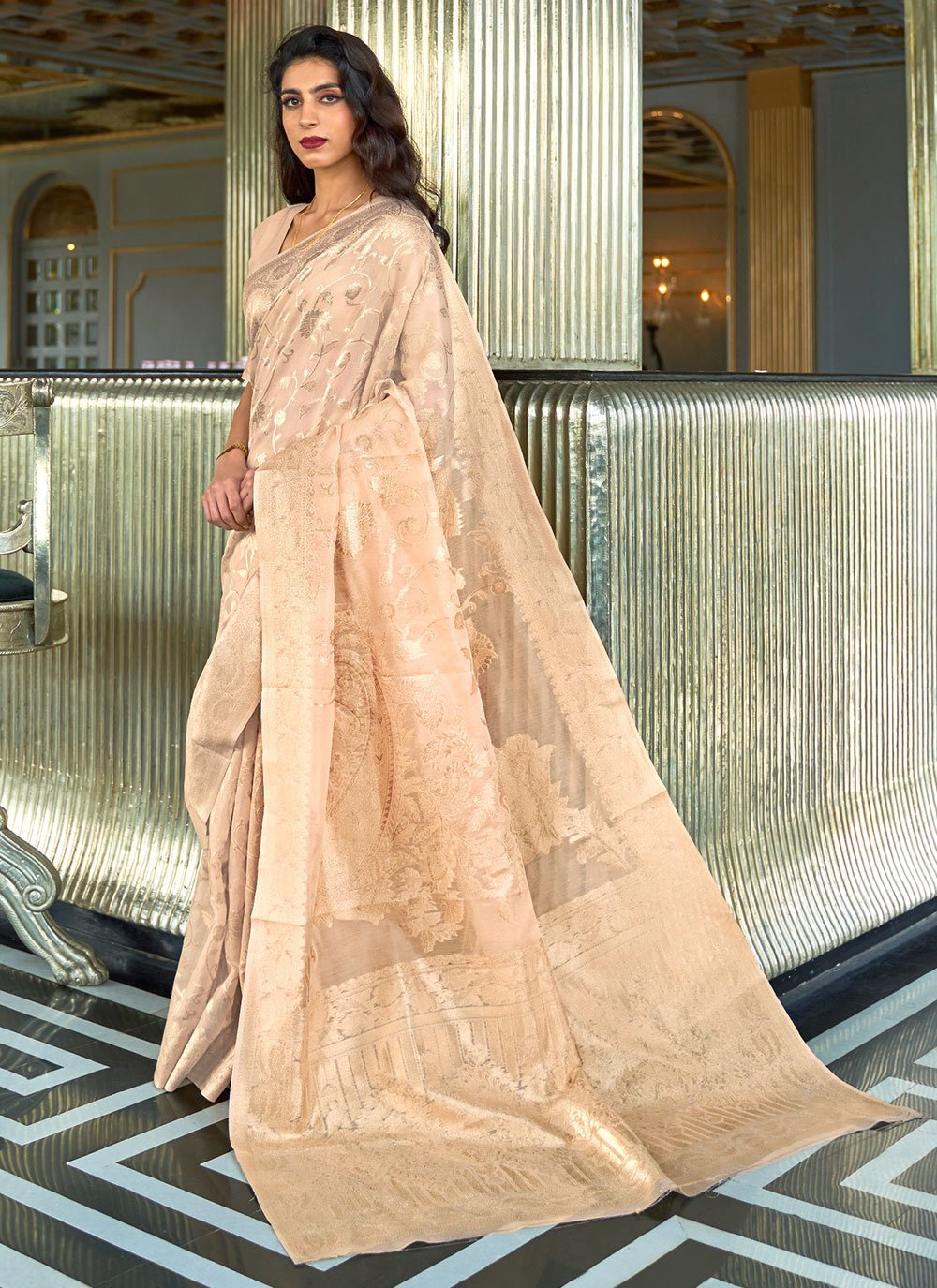 Weaving Beige Fancy Fabric Traditional Saree