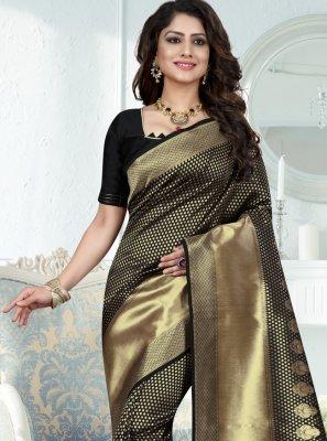 Weaving Black Art Banarasi Silk Traditional Designer Saree