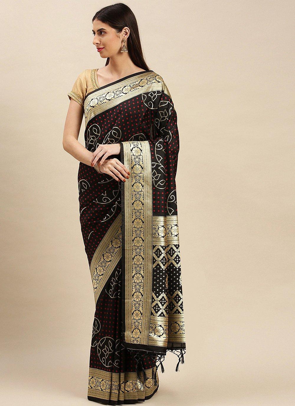 Weaving Black Banarasi Silk Designer Traditional Saree