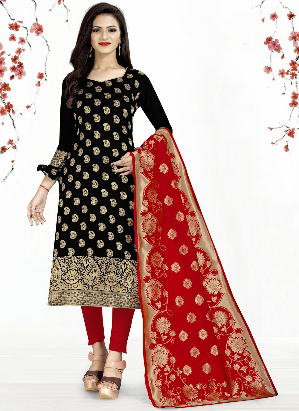 Weaving Black Churidar Salwar Suit