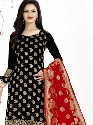 Weaving Black Churidar Salwar Suit