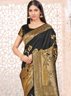Weaving Black Designer Traditional Saree