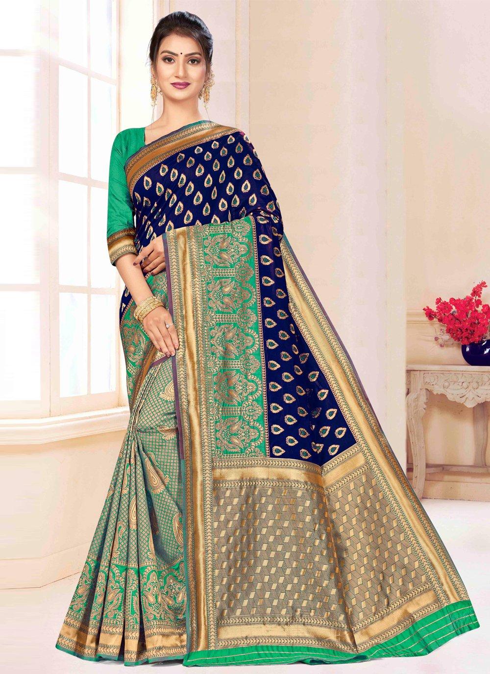 Weaving Blue and Green Banarasi Silk Contemporary Saree