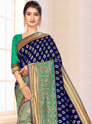 Weaving Blue and Green Banarasi Silk Contemporary Saree